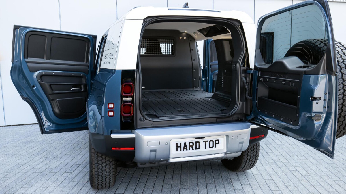 Rear view of the Land Rover Defender Hard Top with all doors open