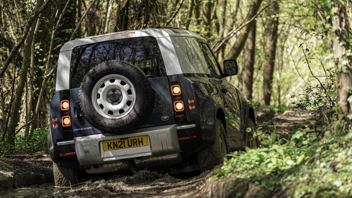 The Land Rover Defender Hard Top in the off-road