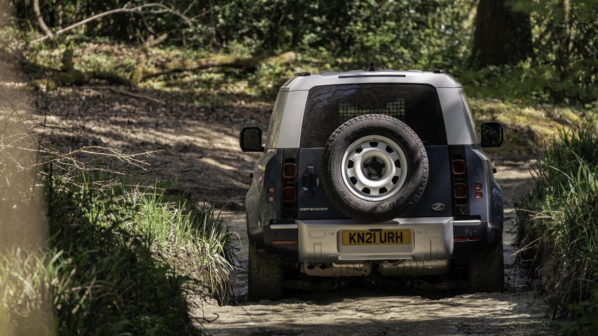 Rear view of the Land Rover Defender Hard Top in the off-road