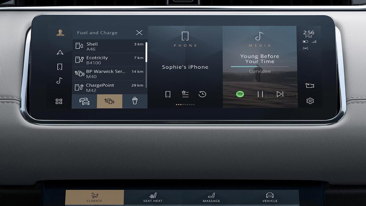 The infotainment system found in a Range Rover Evoque