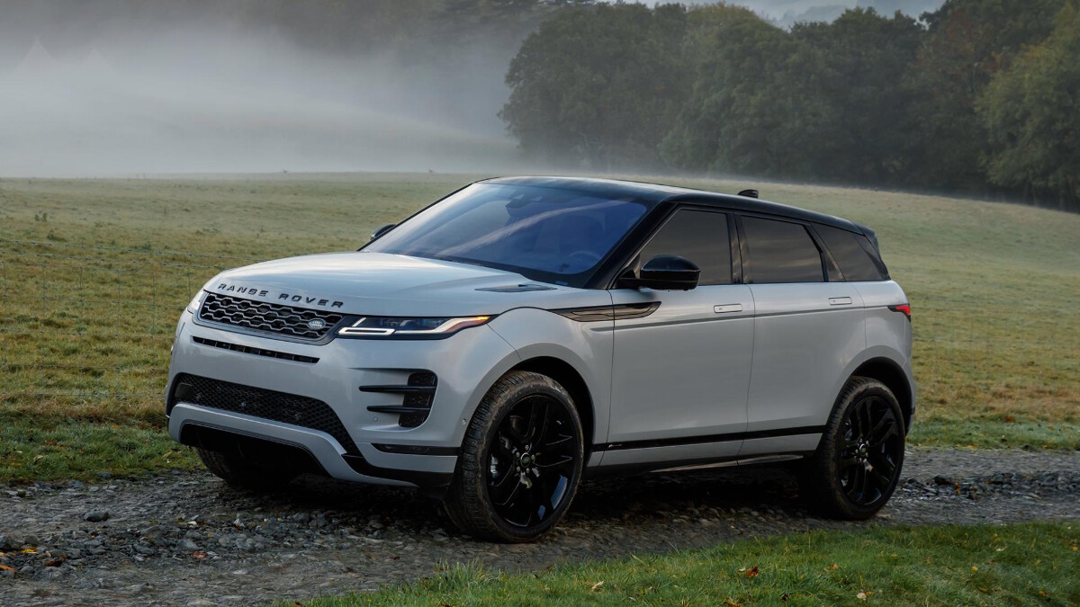 The Range Rover Evoque parked in a dirt road
