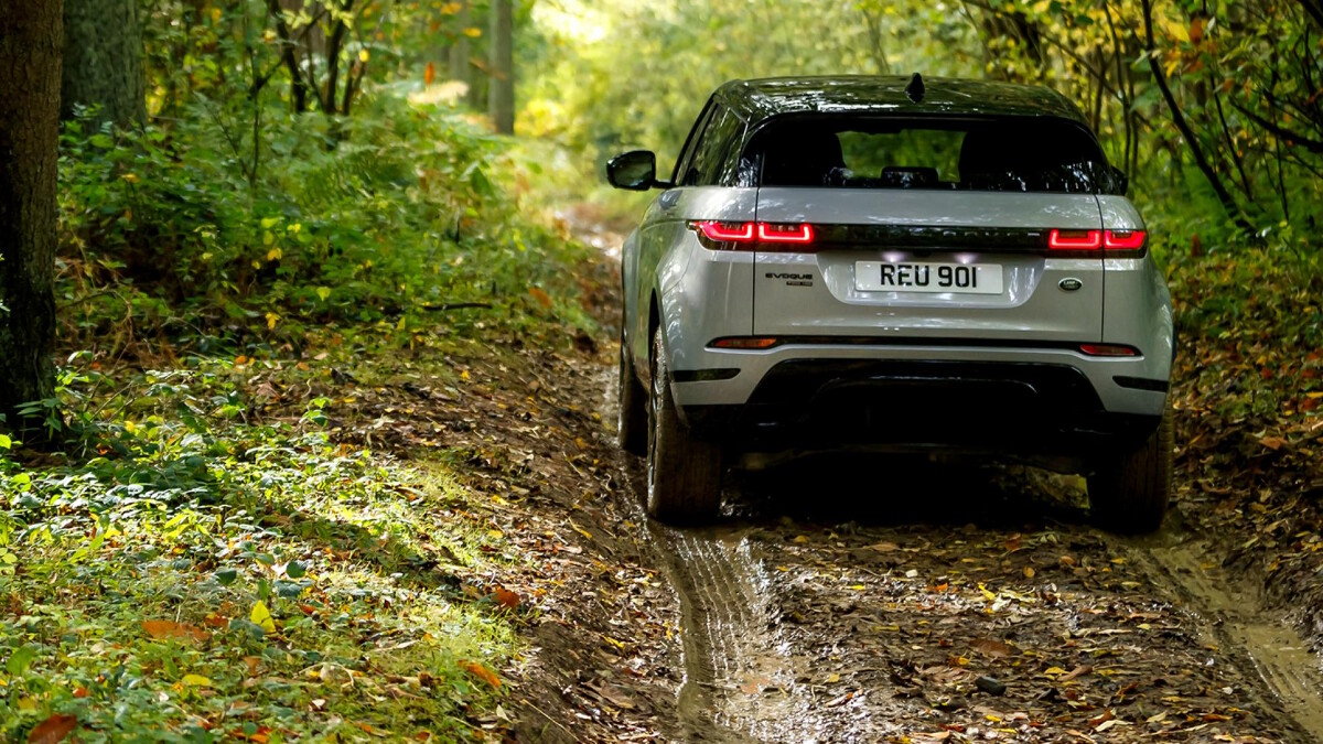 The Range Rover Evoque on a dirt road