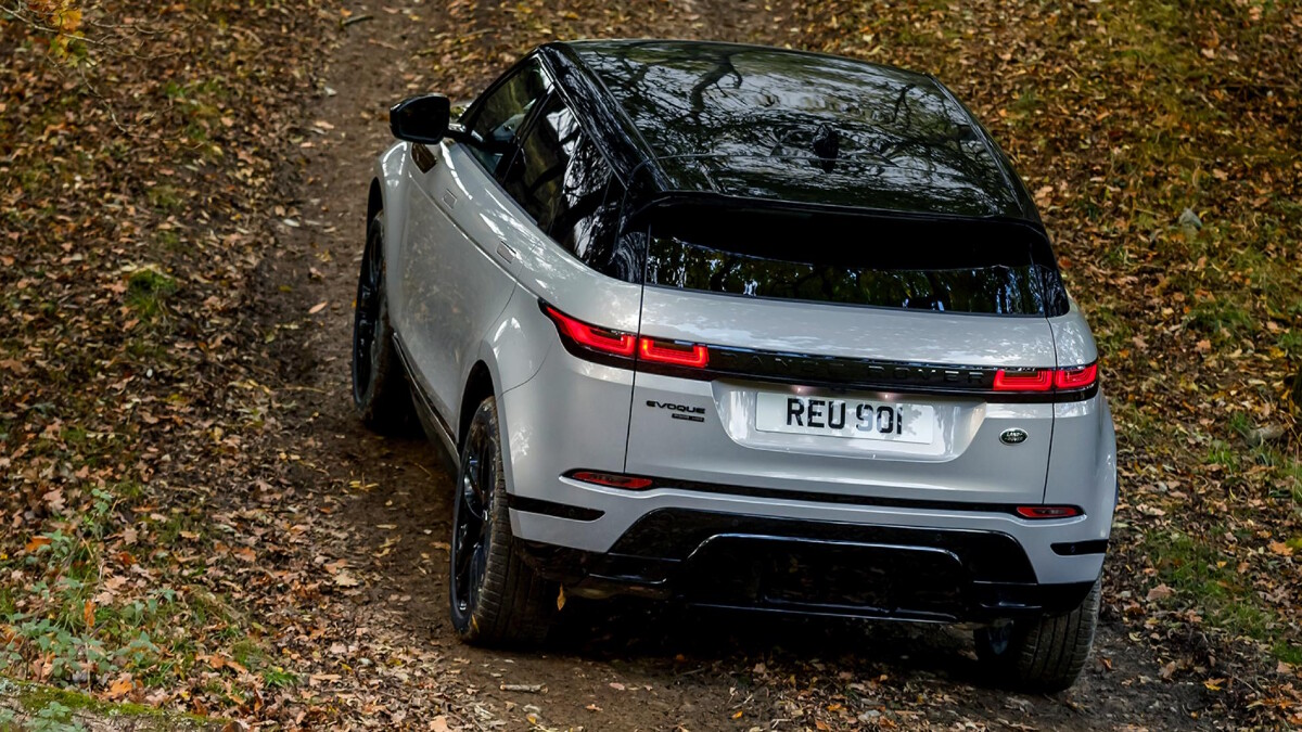 An angled top view of the Range Rover Evoque featuring its rear and top.