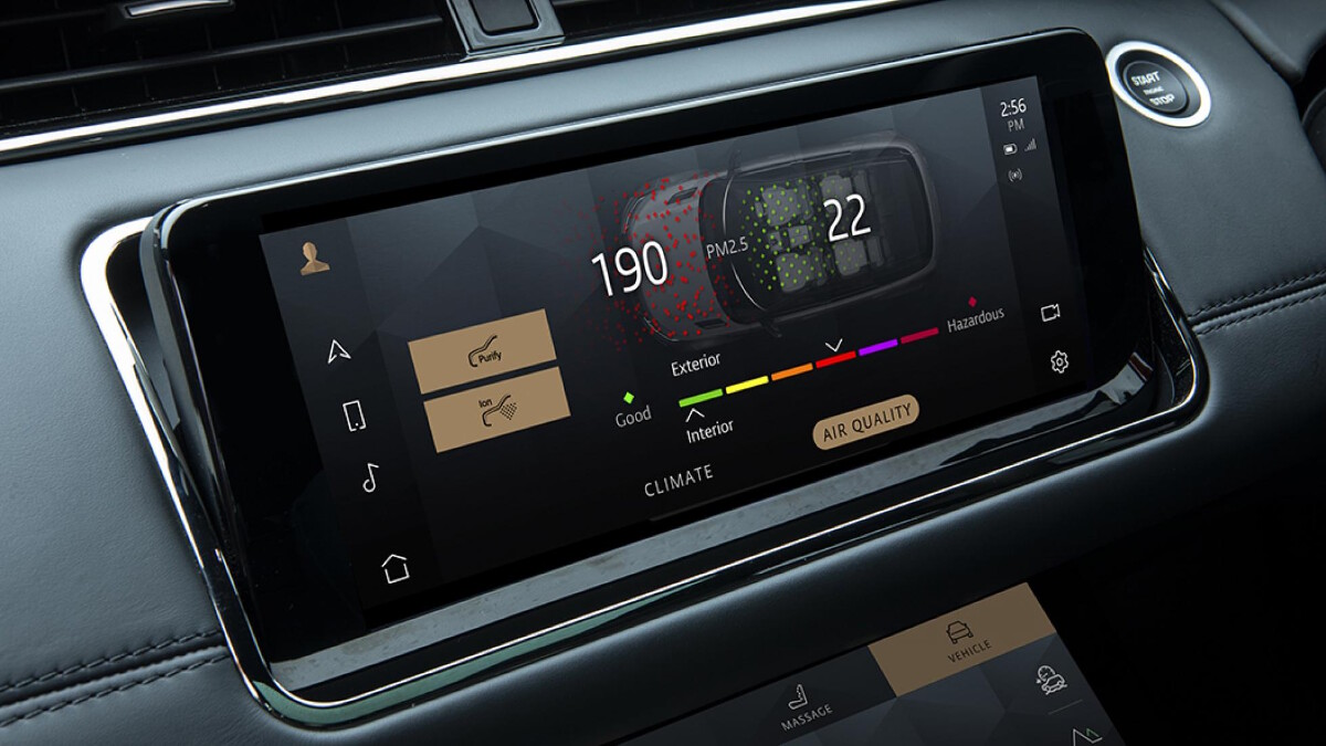 An alternative angle of the infotainment system of a Range Rover Evoque