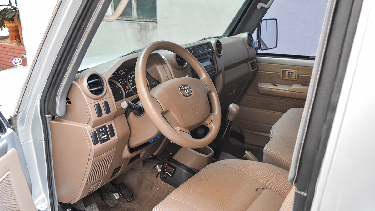 An armored Toyota Land Cruiser in the Philippines's Steering Wheel and Dashboard