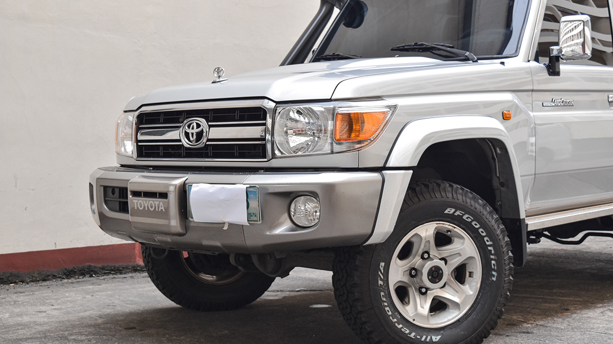 The Front of an Armored  Toyota Land Cruiser