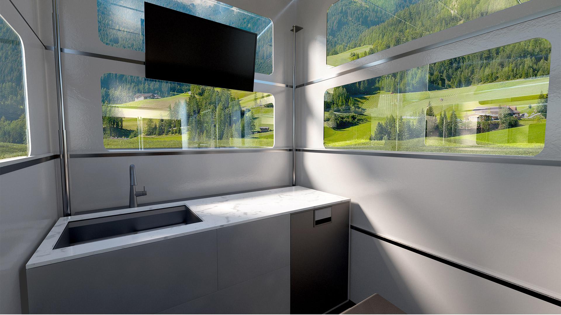 The Tesla Cybertruck CyberLandr Interior Kitchen Top with Sink