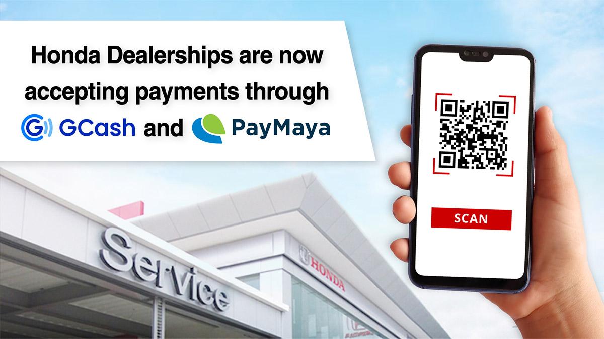 Announcement Poster: Honda dealerships accepting payments through Gcash and PayMaya
