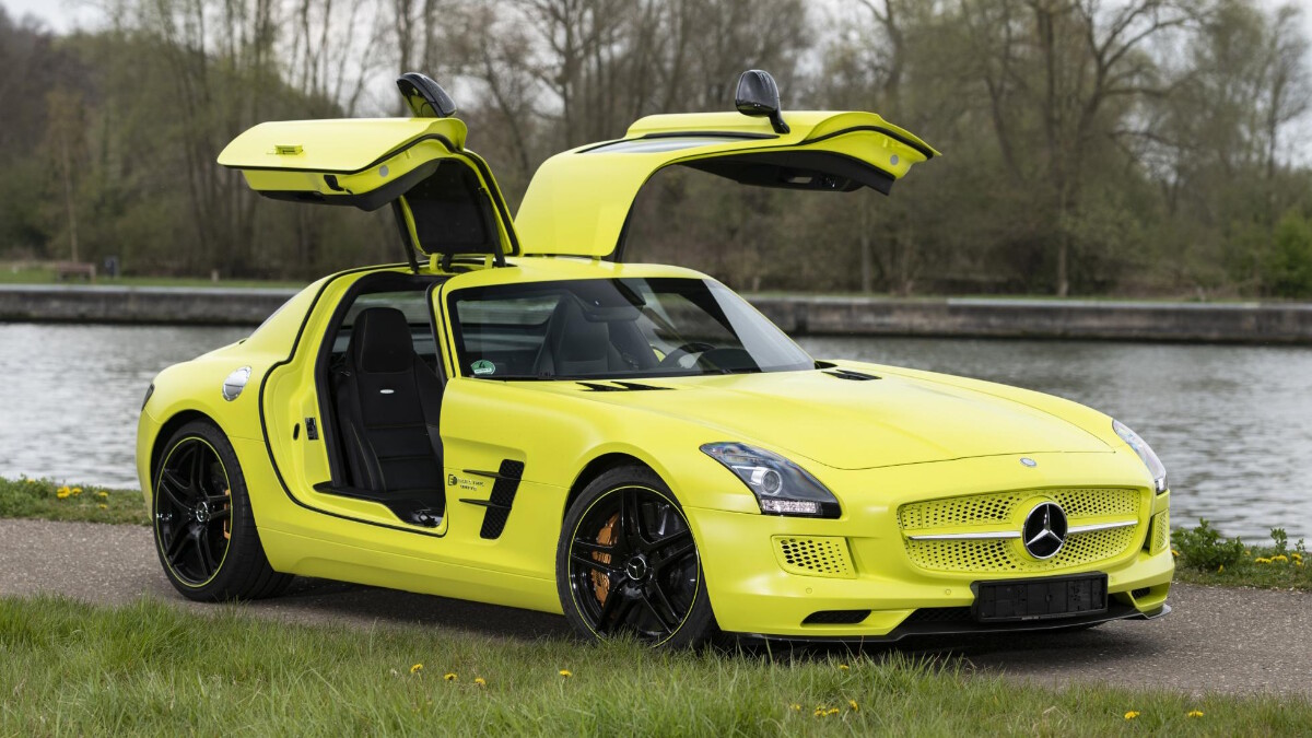 The Mercedes-Benz SLS AMG Electric Drive with its gull-wing doors open