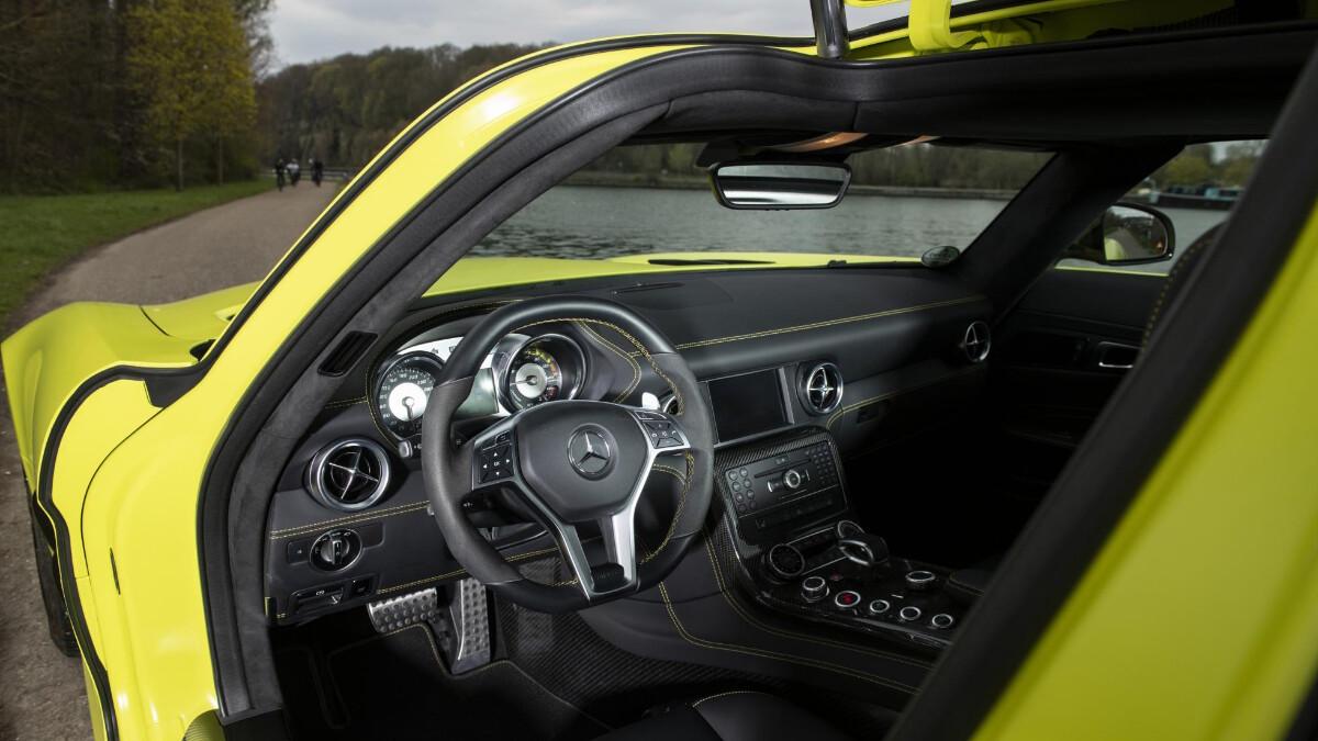 A view of the steering wheel and dashboard of the Mercedes-Benz SLS AMG Electric Drive