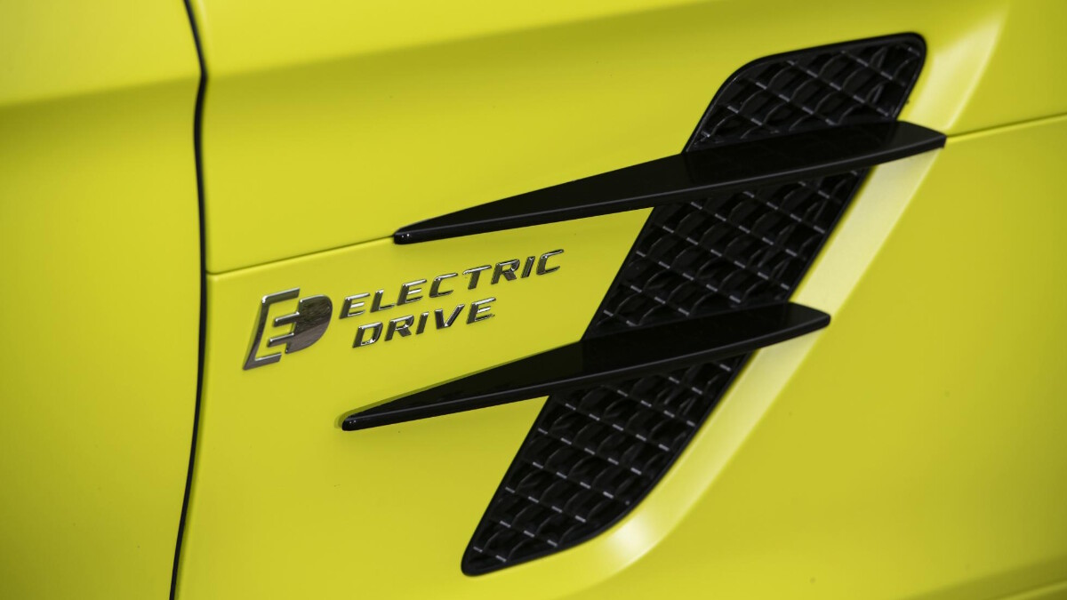 Electric Drive emblem on the side of the Mercedes-Benz SLS AMG Electric Drive