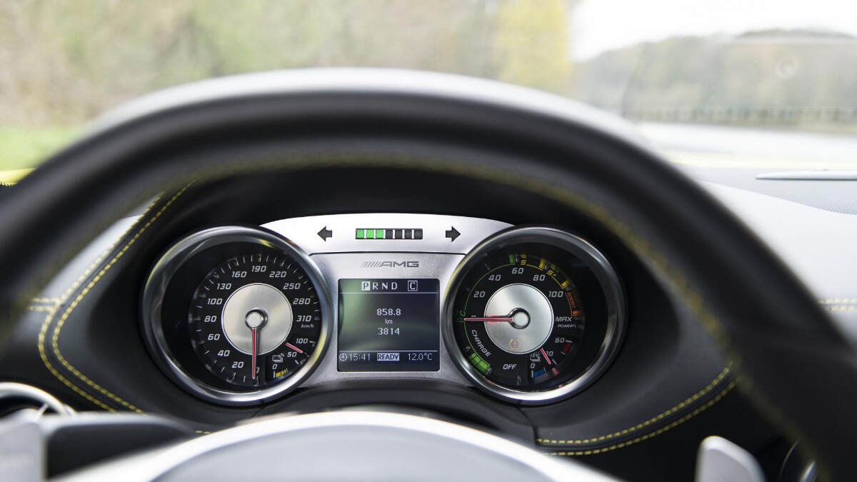 The odometers of the Mercedes-Benz SLS AMG Electric Drive
