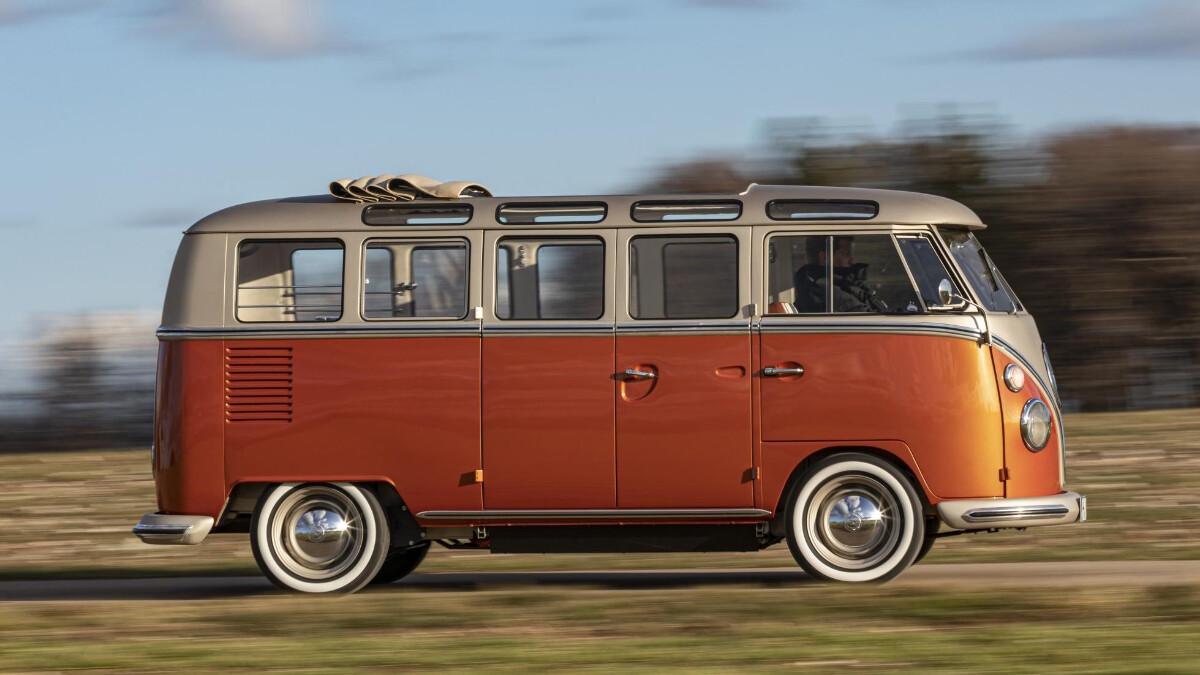 The Volkswagen e-Bulli on the road