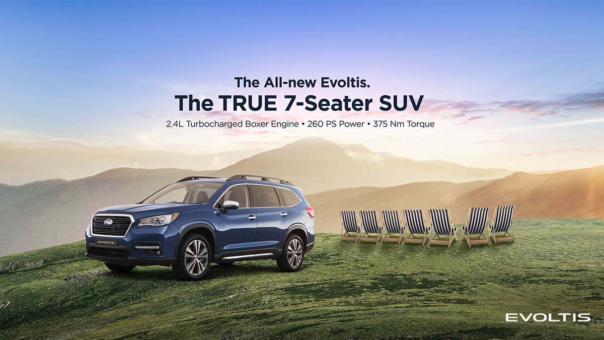 A promotional poster of the Subaru Evoltis