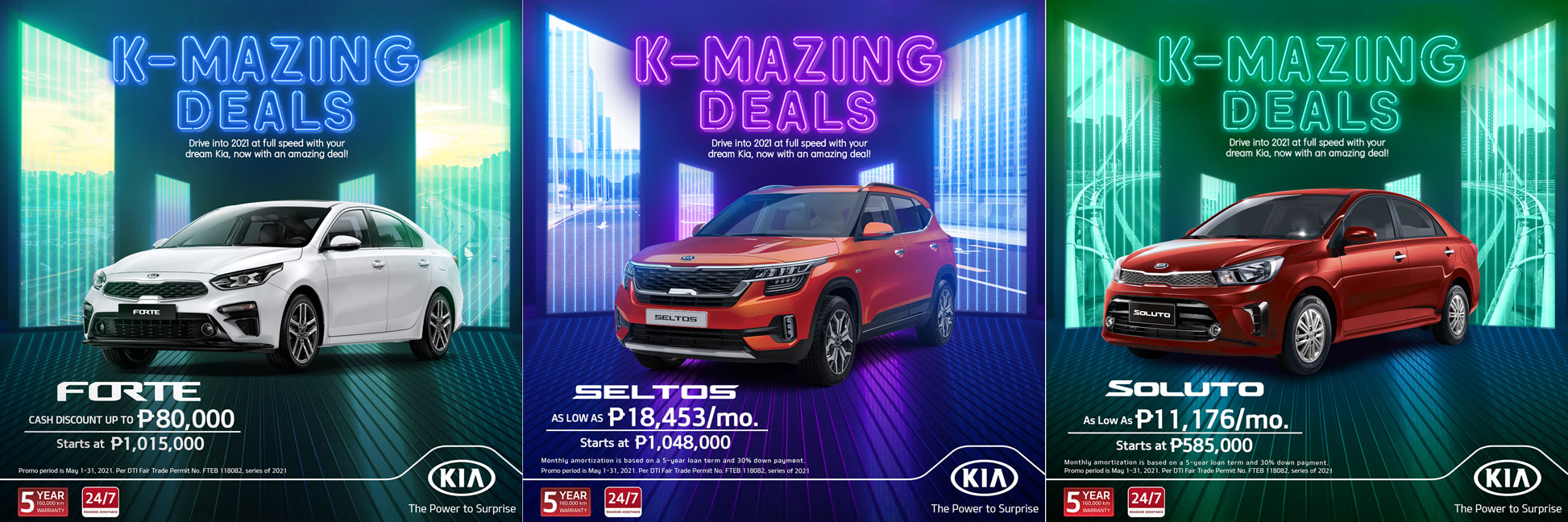 Kia PH's promotional posters offering reduced pricing for the Forte, Seltos, Soluto