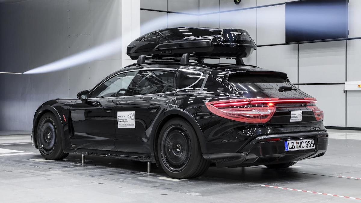 The Porsche Tequipment performance roof box being tested for aerodynamics, alternative angle