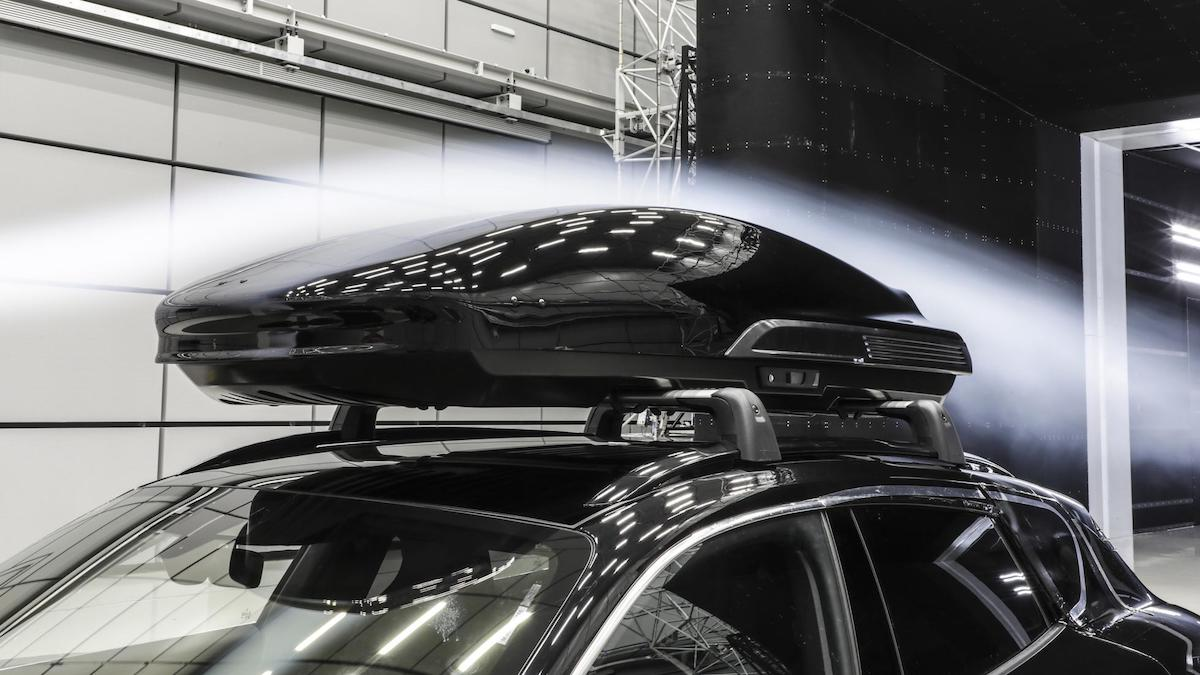 The Porsche Tequipment performance roof box being tested for aerodynamics