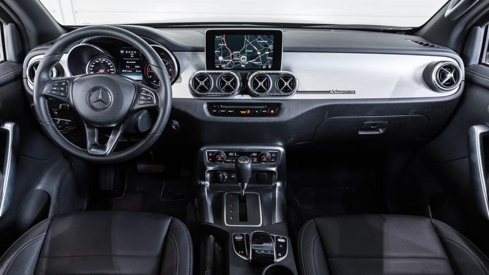 The dasbhoard and interior of the Mercedes-Benz X-Class Pickup truck