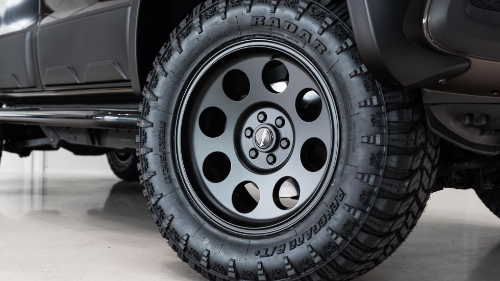 A front tire of the Mercedes-Benz X-Class Pickup truck