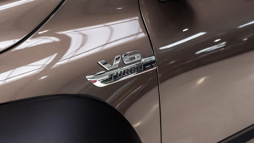 The Mercedes V6 Turbo emblem found on the Mercedes-Benz X-Class Pickup truck