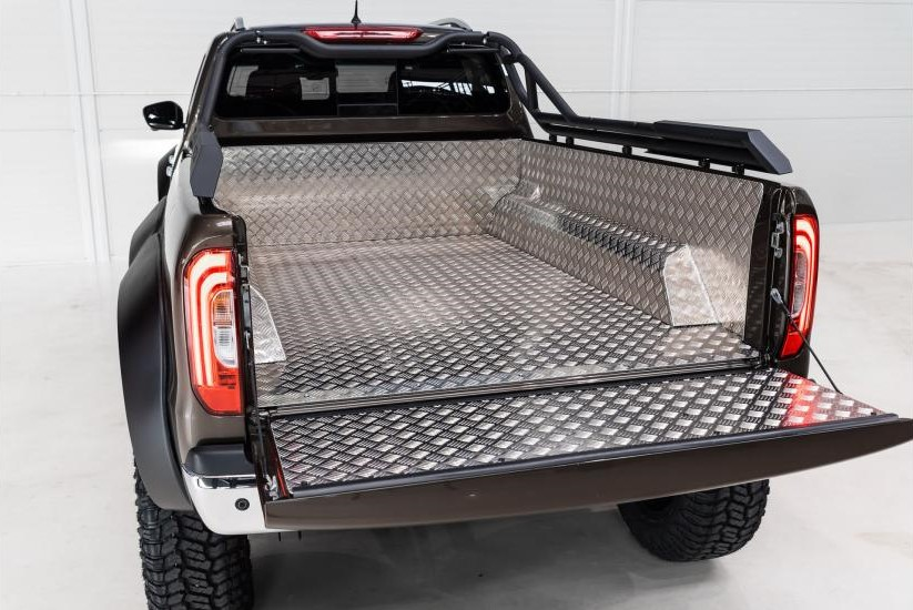 The Mercedes-Benz X-Class Pickup truck featuring the inside of its cargo bed
