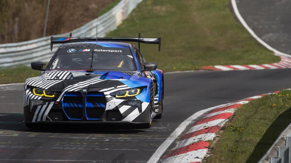 The BMW M4 GT3 on a race track