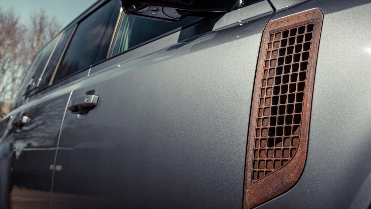The right panel of a Land Rover Defender with Heritage Customs custom rust panel