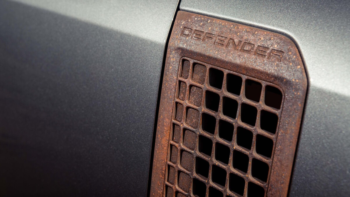 The Defender emblem as seen in the Heritage Customs panel