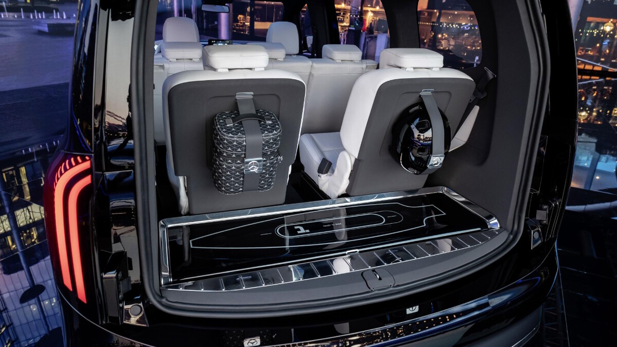 The rear storage space in the Mercedes-Benz EQT Concept