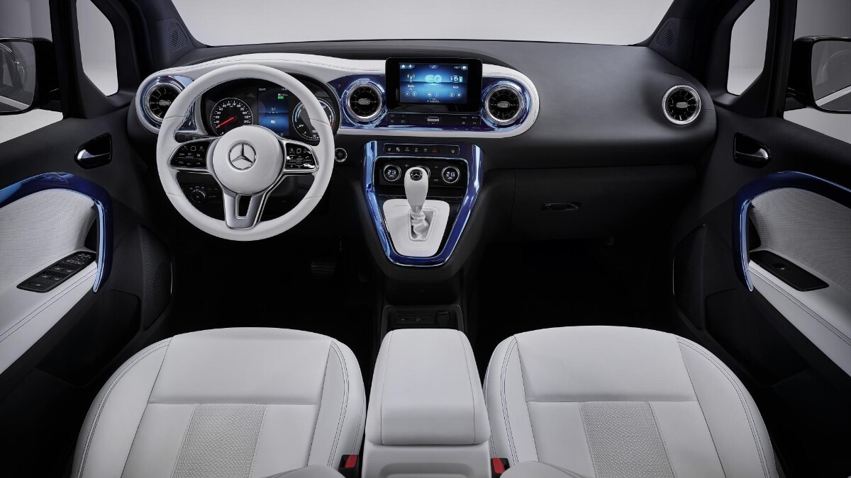 The full dashboard and interior of the Mercedes-Benz EQT Concept