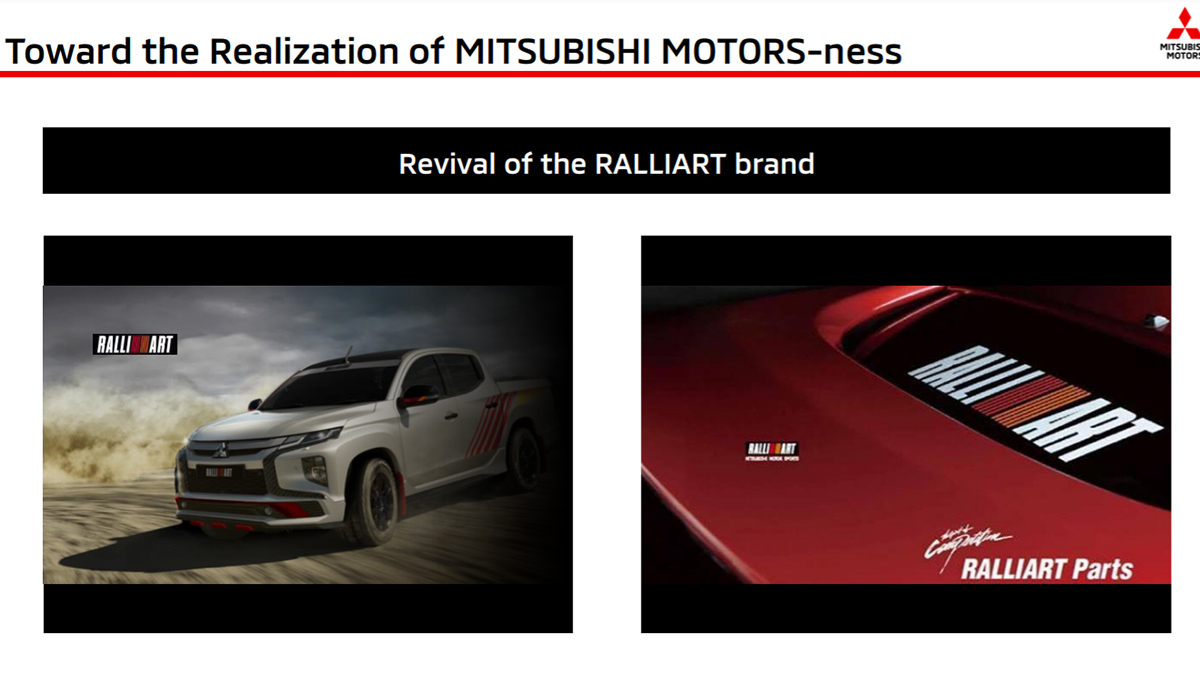 Mitsubishi Ralliart slide from the brands' financial results presentation