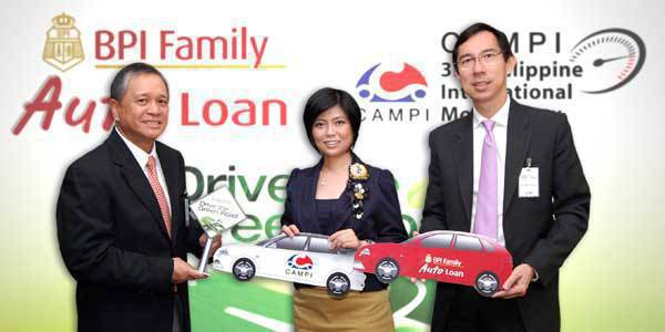 TopGear.com.ph Philippine Car News - BPI Family Savings Bank partners with CAMPI (In photo, from left: David Sarmiento Jr., BFSB head for auto and motorcycle loans; Elizabeth Lee, CAMPI president; and Jose Teodoro Limcaoco, BFSB president)
