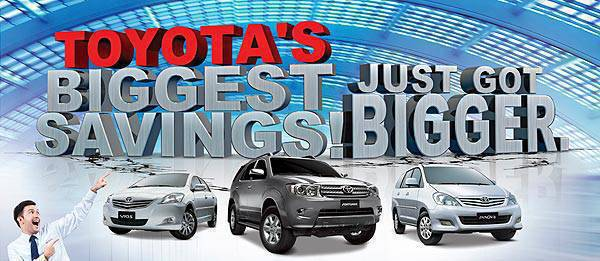 TopGear.com.ph Philippine Car News - Toyota Promo: 'Biggest Savings' offers continue