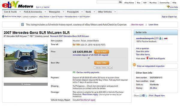 TopGear.com.ph Philippine Car News - Michael Jordan's SLR McLaren for sale on eBay