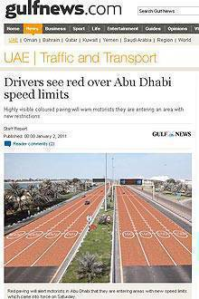 TopGear.com.ph Philippine Car News - Abu Dhabi alerts drivers of speed limit through color-coded roads – literally