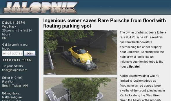 TopGear.com.ph Philippine Car News - Porsche owner saves car from flood with floatation device
