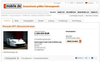 TopGear.com.ph Philippine Car News - Very rare street-legal Porsche 911 GT1 up for sale