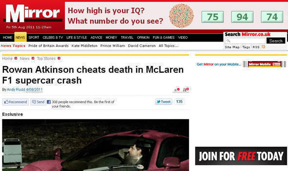 TopGear.com.ph Philippine Car News - Mr. Bean crashes his McLaren F1...again