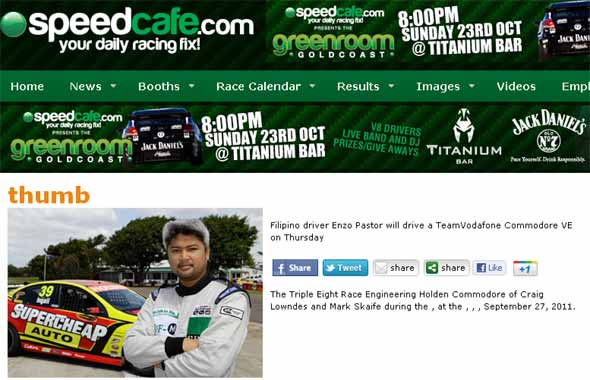 TopGear.com.ph Philippine Car News - Enzo Pastor to test drive Australia's V8 Supercar series race car