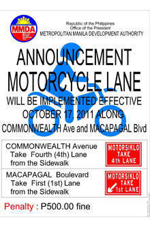 TopGear.com.ph Philippine Car News - MMDA to implement motorcycle lanes on Commonwealth, Macapagal Avenues next week