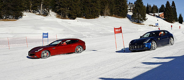 TopGear.com.ph Philippine Car News - Alonso, Massa parallel slalom two Ferrari FFs down a ski slope