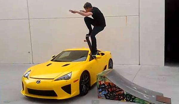Tony Hawk jumps over Lexus LFA