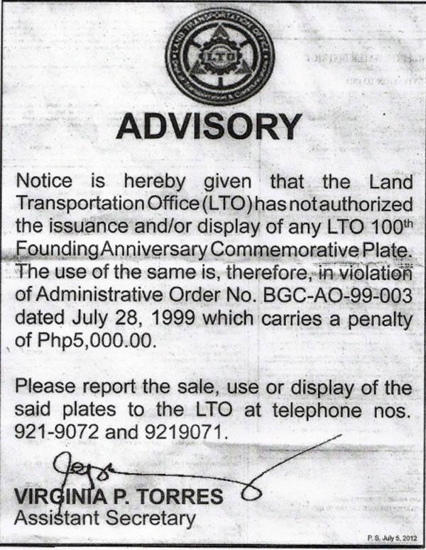 LTO advisory