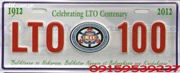 Illegal LTO commemorative plate