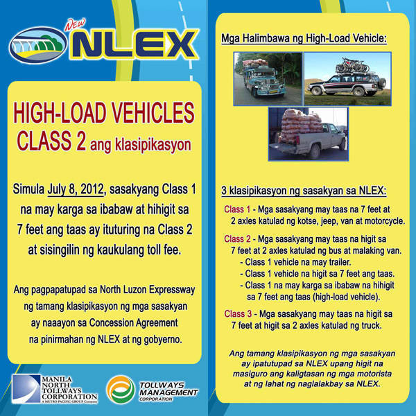 TopGear.com.ph Philippine Car News - NLEX operator changes Class 1, 2 classifications