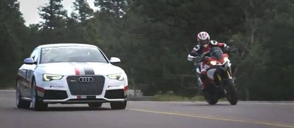 TopGear.com.ph Philippine Car News - Audi RS5 takes on Pikes Peak with Ducati Multistrada 1200 S