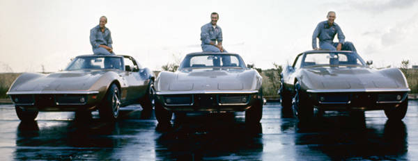 Apollo 12 astronauts and their Corvettes