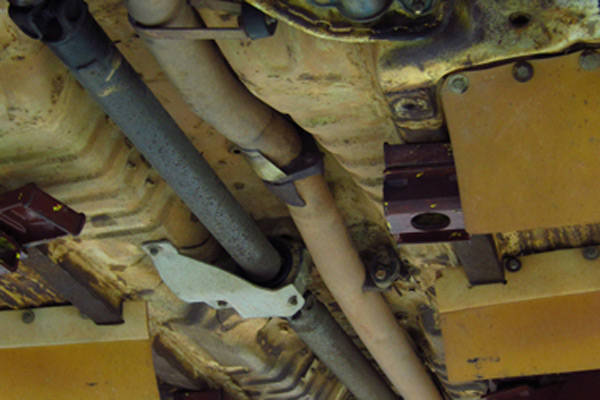 Underside of a rally car