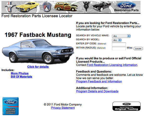 Ford Restoration Parts website