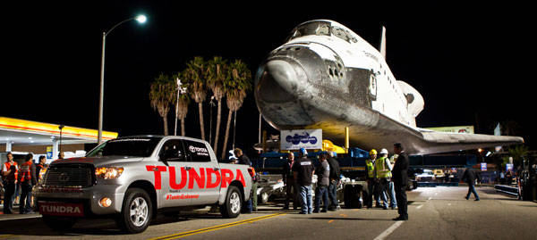 Space Shuttle Endeavor towed to new home by Toyota Tundra